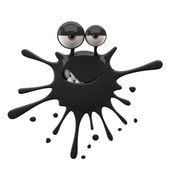 Blotch-shaped black cunning monster — Stock Photo