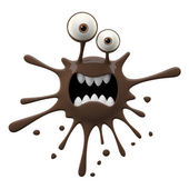 Blotch-shaped brown scared monster — Stock Photo