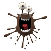 Blotch-shaped brown yelling monster — Stock Photo