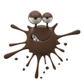 Blotch-shaped brown cunning monster — Stock Photo