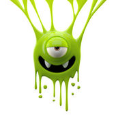 Dangle green monster with vampire smile — Stock Photo