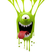 Dangle green tongue out monster — Stock Photo