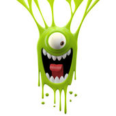 Dangle green excited monster — Stock Photo
