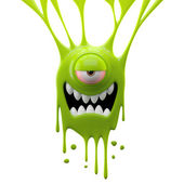 Dangle green crazy monster — Stock Photo