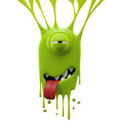 Dangle green tired monster — Stock Photo