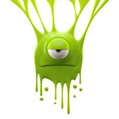 Dangle green dissatisfied monster — Stock Photo