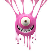 Dangle pink joyful monster — Stock Photo