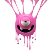 Dangle pink monster with vampire smile — Stock Photo