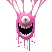 Dangle pink excited monster — Stock Photo