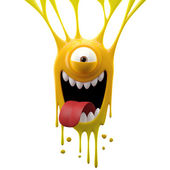 Dangle yellow tongue out monster — Stock Photo