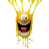 Dangle yellow excited monster — Stock Photo