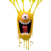 Dangle screaming yellow monster — Stock Photo