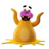 Yellow walrus with two hands up — Stock Photo