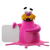 Pink walrus pointing on board — Stock Photo