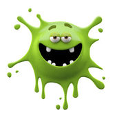 Green satisfied two-eyed monster — Stock Photo