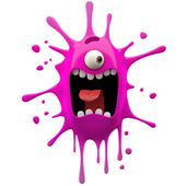 Glaring pink one-eyed monster — Stock Photo