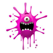 Screaming pink one-eyed monster — Stockfoto