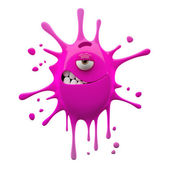 One-eyed pink monster with ironic smile — Stock Photo