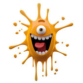 Exciting orange one-eyed monster — Stock Photo