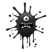 Scared black one-eyed monster — 图库照片