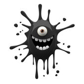 Happy black one-eyed monster — Stock Photo