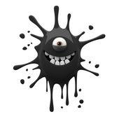 Smiling black one-eyed monster — Stock Photo