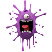 Glaring purple one-eyed monster — Stock Photo
