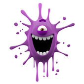 Happy purple one-eyed monster — Stockfoto