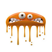 Flattened confused two-eyed orange monster — Stock Photo