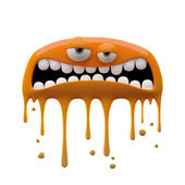 Flattened irate two-eyed orange monster — Stock Photo