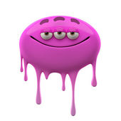 Oviform purple three-eyed monster — Stock Photo