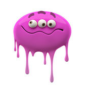 Oviform confused purple  three-eyed monster — Stock Photo