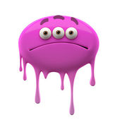Oviform sad purple three-eyed monster — Stock Photo