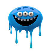 Oviform funny blue three-eyed monster — Stock Photo