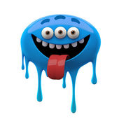 Laughing tongue out blue three-eyed monster — Stock Photo