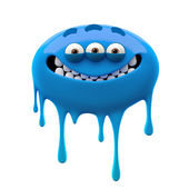Oviform smiling blue three-eyed monster — Stock Photo