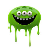 Oviform funny green three-eyed monster — Stock Photo