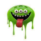 Laughing tongue out green three-eyed monster — Stock Photo