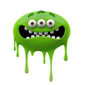 Oviform scared green three-eyed monster — Stock Photo