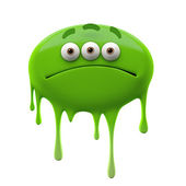Oviform sad green three-eyed monster — Stock Photo