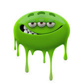 Oviform ironic smiling green three-eyed monster — Stock Photo