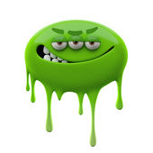 Angry ironic smiling green three-eyed monster — Stock Photo