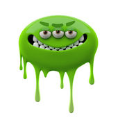 Oviform angry smiling green three-eyed monster — Stock Photo