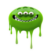 Oviform smiling green three-eyed monster — Stock Photo