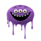 Oviform funny purple three-eyed monster — Stock Photo