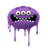 Oviform scared purple three-eyed monster — Stock Photo