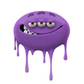 Oviform smiling purple three-eyed monster — 图库照片