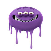 Oviform smiling purple three-eyed monster — Stock Photo