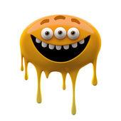 Oviform funny orange three-eyed monster — Stock Photo