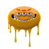 Oviform angry smiling orange three-eyed monster — Stock Photo